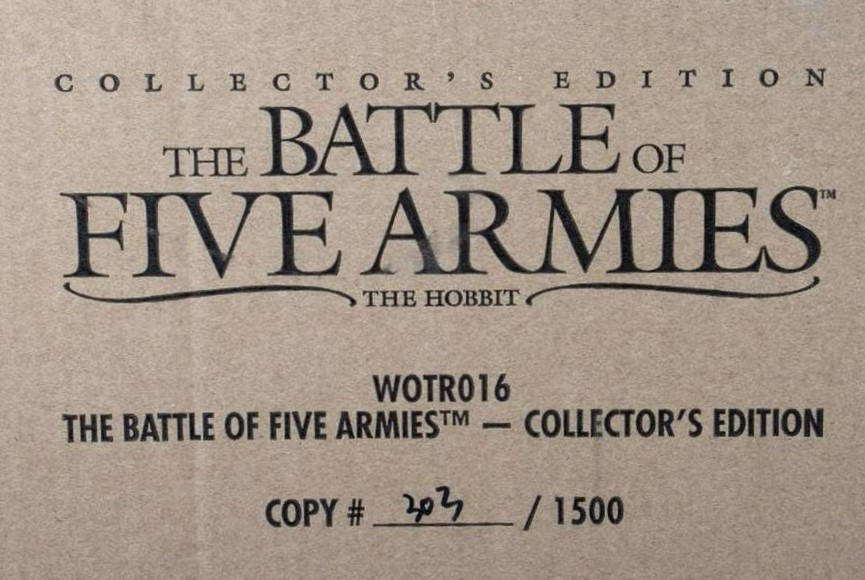 The Hobbit: The Battle of Five Armies: Collector's Edition strategy game, estimated at $200 - $400