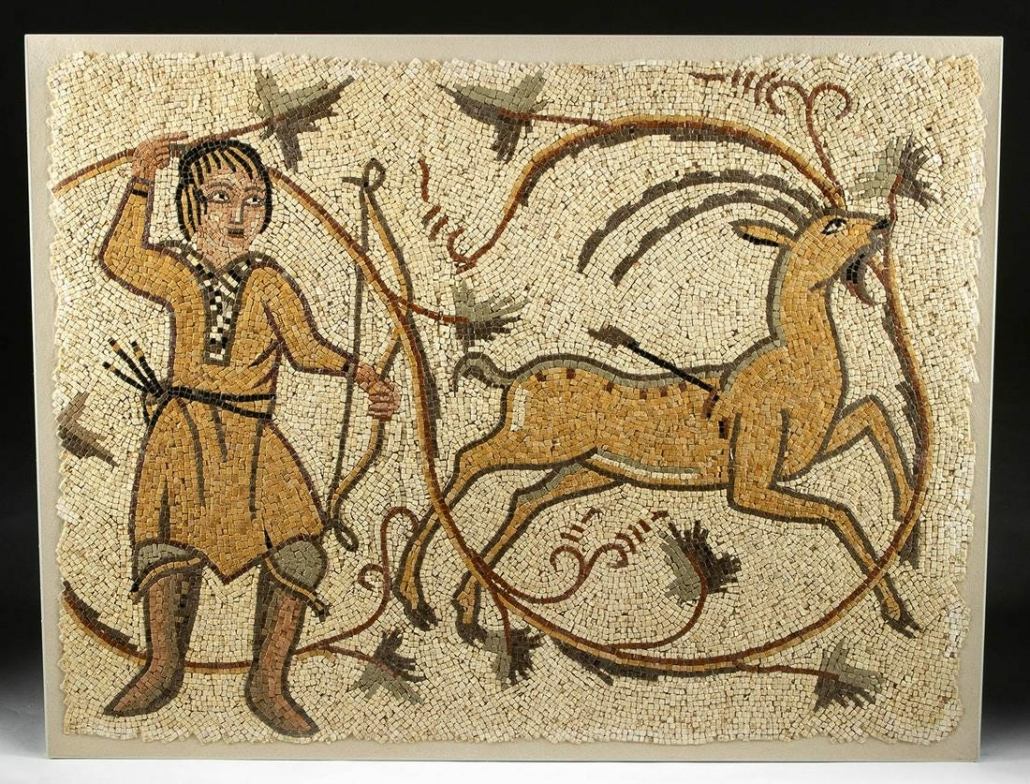 Roman stone mosaic depicting hunter and stag, circa 3rd-5th century, estimated at $24,000-$36,000