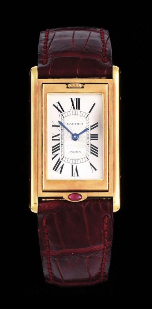 Cartier Tank Basculate limited edition wristwatch with box and papers, which sold for $25,600