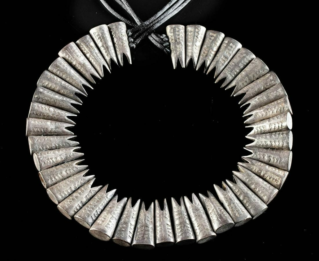 Viking necklace with 38 conical, hollow silver fishtail pendants, circa 10th century, estimated at $50,000-$75,000