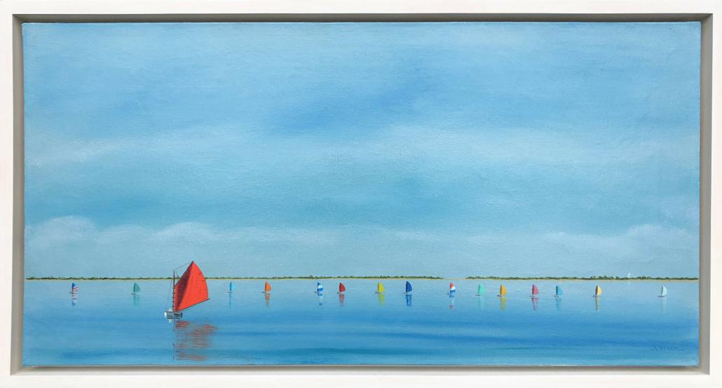 Robert Stark Jr., 'Rainbow Fleet Sailing in Nantucket Harbor,' estimated at $10,000-$15,000