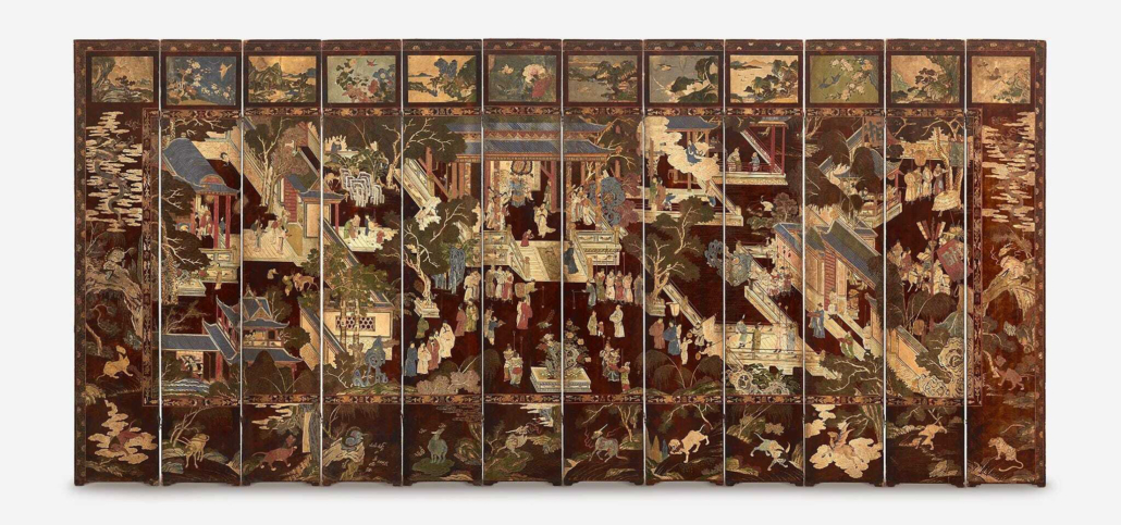 This Chinese carved 12-panel Coromandel screen, from the 17th or 18th century, realized $67,500 plus the buyer's premium in April 2021 at Freeman's.