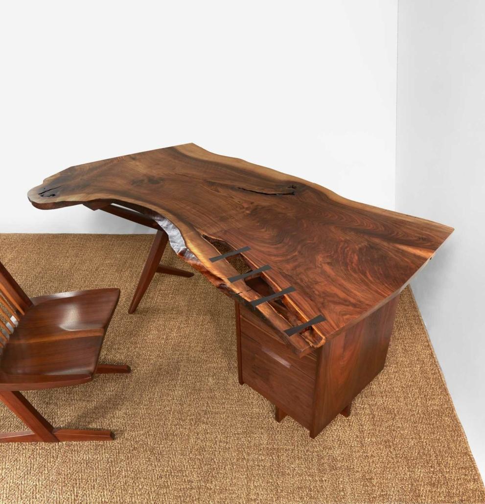 George Nakashima 1961 conoid desk, estimated at $60,000-$80,000