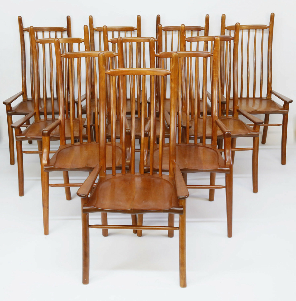 Stephen Swift high-back cherry dining chairs, estimated at $10,000-$12,000