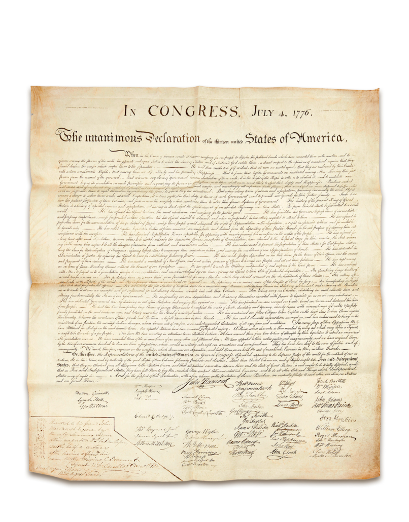Another view of the 1823 printing of the Declaration of Independence, the last of six signer's copies still in private hands.