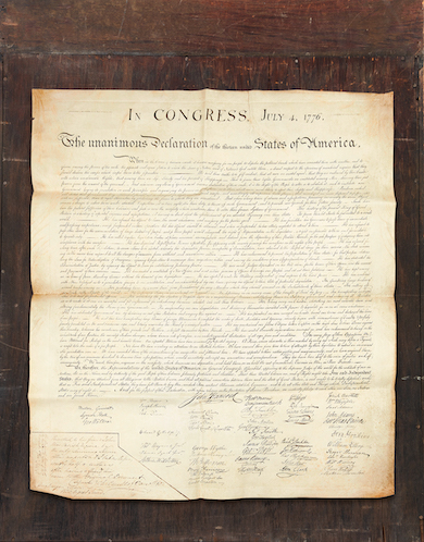 Freeman's offers 1823 printing of the Declaration of Independence on July 1