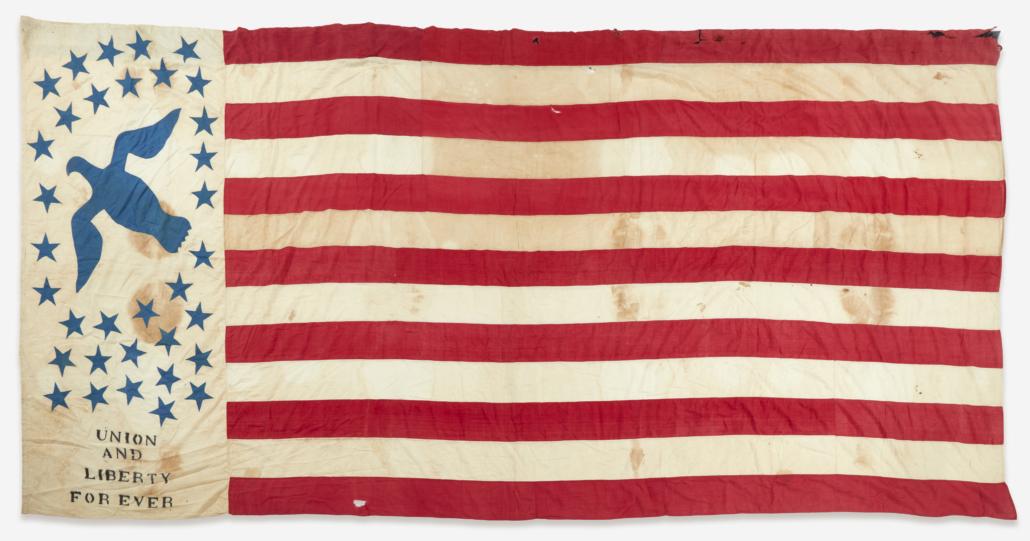 Civil War-era 34-star appliqued American flag, estimated at $10,000-$20,000