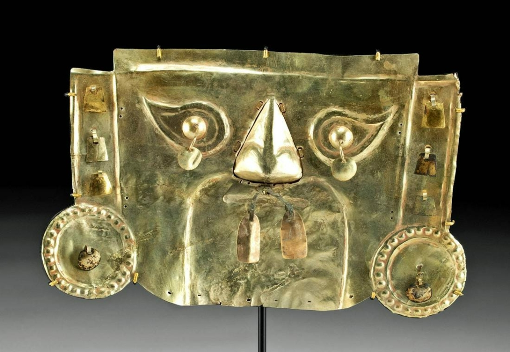 Pre-Columbian 10th century Sican gold ceremonial mask of a type created only to adorn the face of a deceased lord or king, estimated at $20,000-$30,000