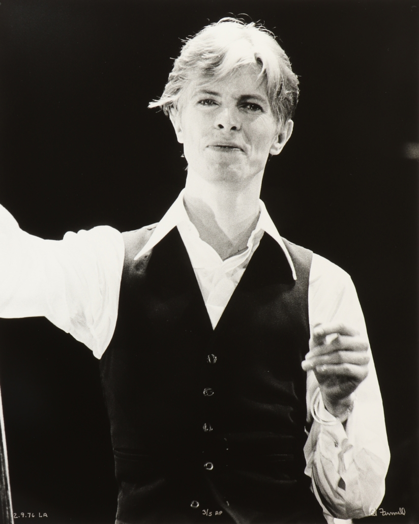 Ed Finnell's photograph of David Bowie as the Thin White Duke, taken during the 1976 'Station to Station' tour