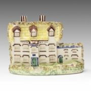 """English Staffordshire mantel ornament in the form of Stanfield Hall, known as a """"murder house,"""" circa 1849–1860. Nelson-Atkins Museum of Art."""