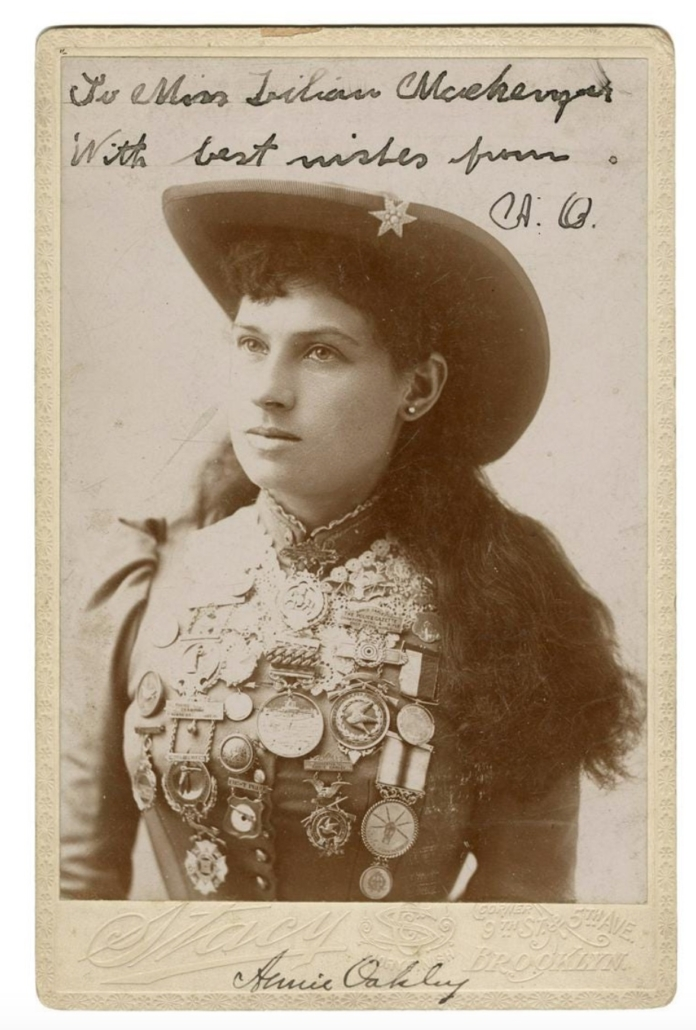 19th century cabinet card portrait of Annie Oakley, estimated at $1,000-$2,000