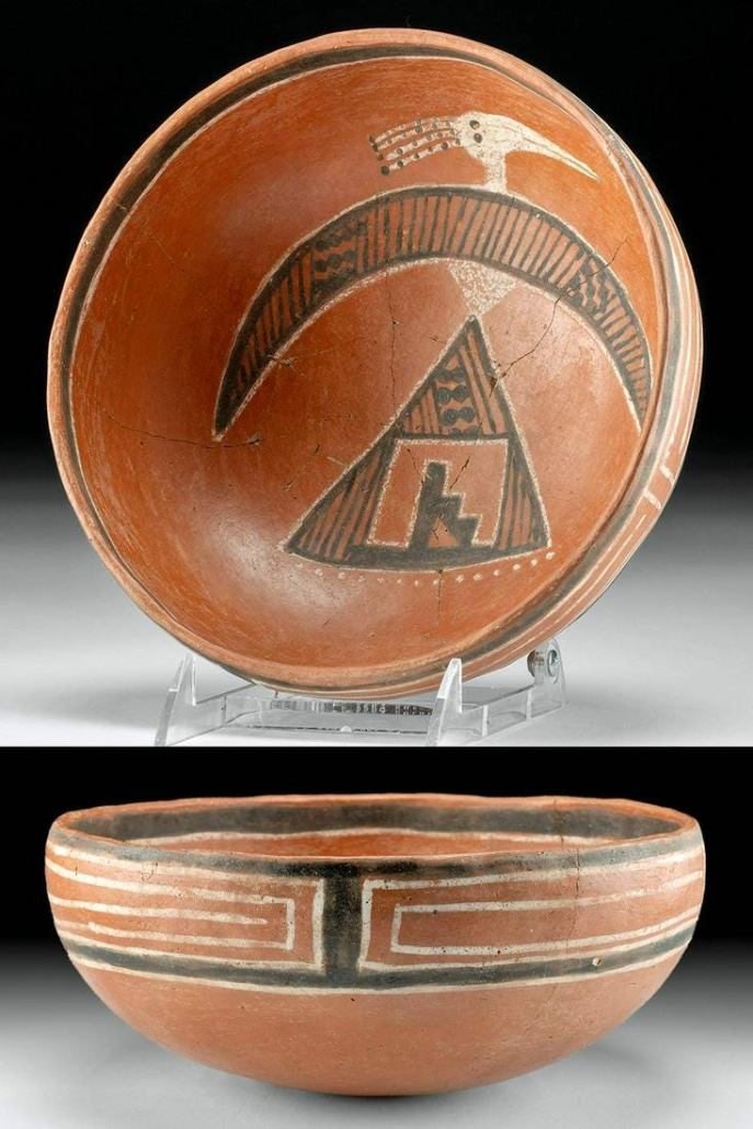 Native American Anasazi (Ancestral Puebloan) Four-Mile redware pottery bowl with abstract image of thunderbird, estimated at $2,400-$3,600