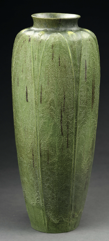 Monumental 22in Grueby two-tone cylindrical vase, which sold for $25,830
