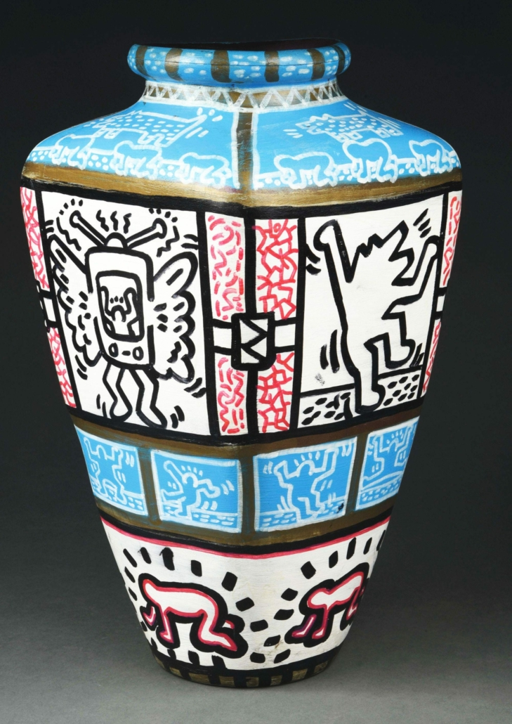 Double-signed Keith Haring vase, which sold for $84,000