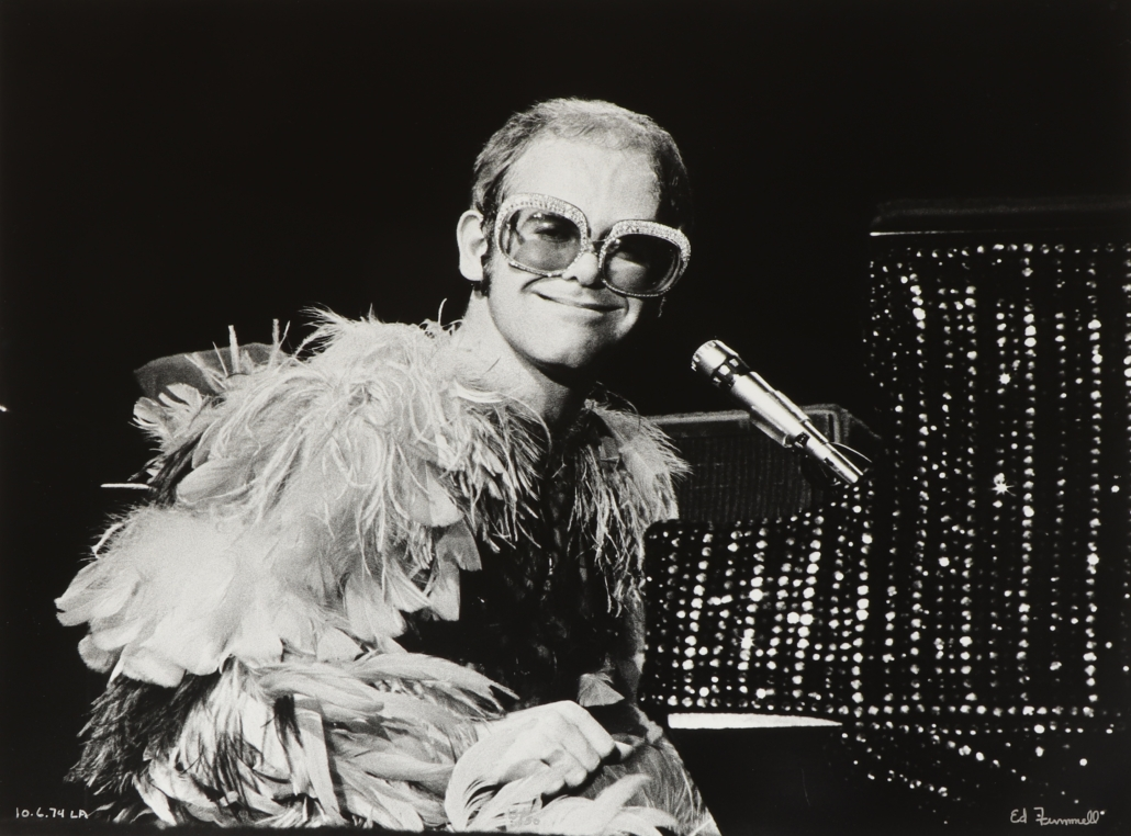 Finnell photograph of Elton John on the 1974 'Goodbye Yellowbrick Road' tour