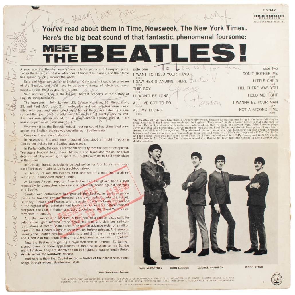 Back cover of the 'Meet the Beatles' promo album, showing the Beatles signatures and the inscription to Harrison's sister