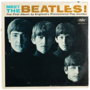 Cover of a fully signed 'Meet the Beatles' promo album, inscribed to George Harrison's sister, estimated at $100,000-$125,000