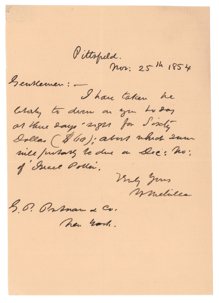 Single-page 1854 Herman Melville letter to his publisher, estimated at $10,000-$15,000