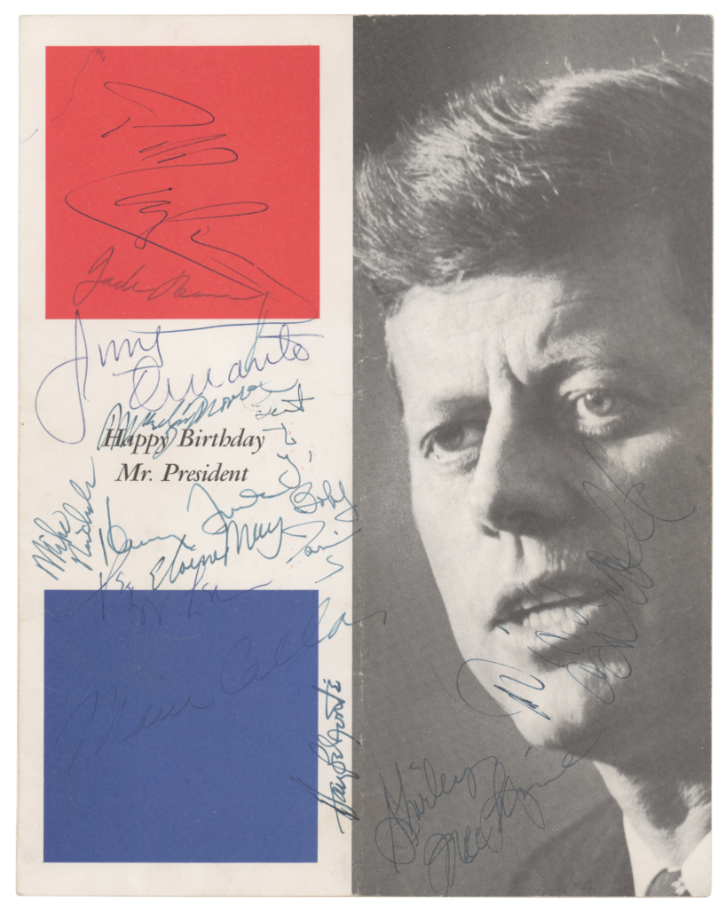 Original program for President Kennedy's 1962 birthday celebration at Madison Square Garden, signed by Marilyn Monroe and other attendees, which sold for $29,232