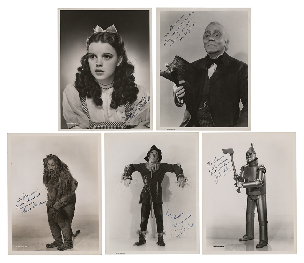 Wizard of Oz set of signed oversize photographs, estimated at $50,000-$75,000