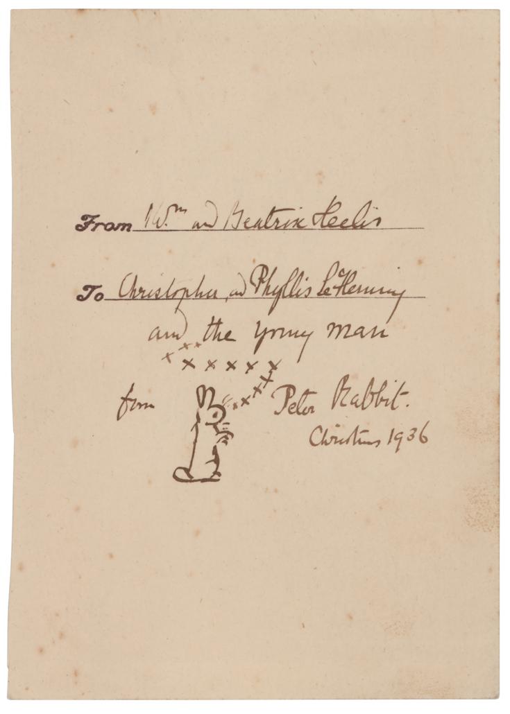 Beatrix Potter-signed sketch of Peter Rabbit, estimated at $10,000-$15,000