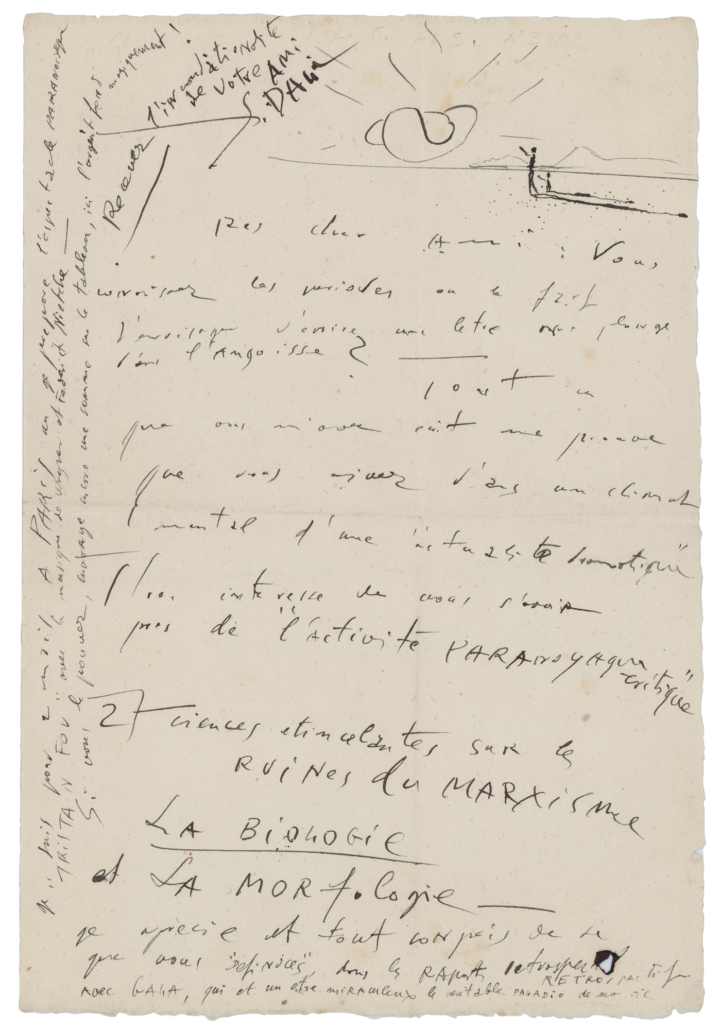 Salvador Dali autographed letter, signed with a sketch, estimated at $3,000-$5,000