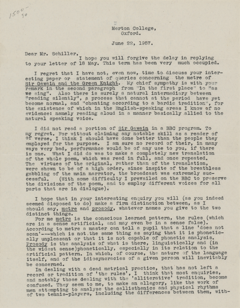 J. R. R. Tolkien two-page typed 1957 letter, $3,000-$5,000