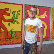 Keith Haring in his studio in 1982. Photograph ©1982 Allan Tannenbaum