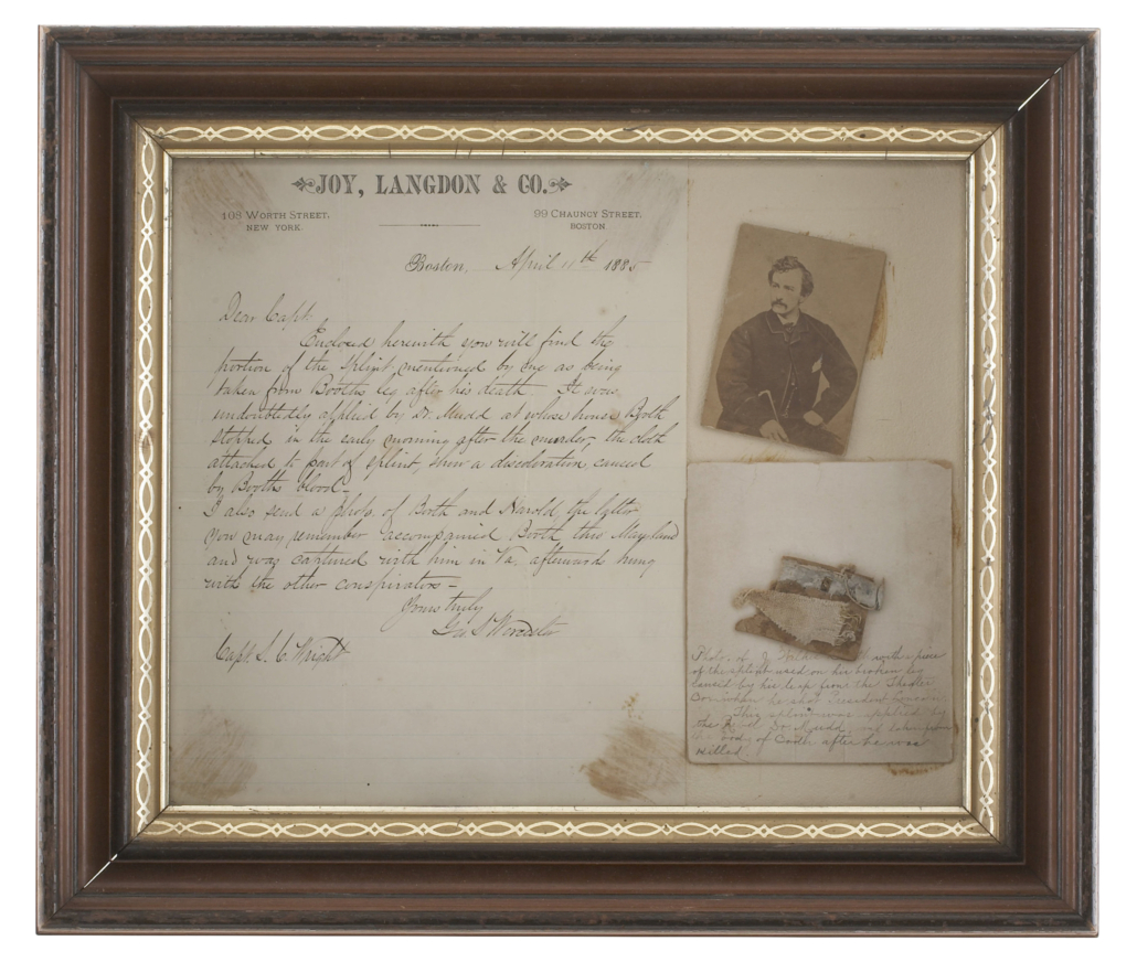Piece of the splint Dr. Samuel Mudd made to set the broken ankle of assassin John Wilkes Booth, estimated at $7,500-$12,250