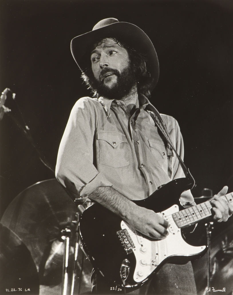 Eric Clapton on the 1976 'No Reasons to Cry' tour, shot by Finnell