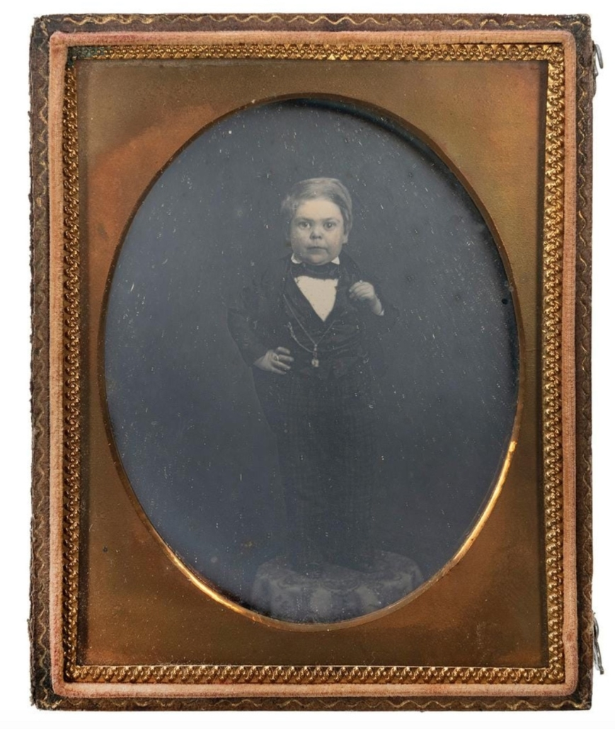 Quarter-plate daguerreotype of Tom Thumb, estimated at $15,000-$20,000