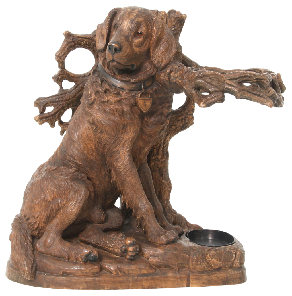Black Forest carved dog umbrella stand, which sold for $51,425
