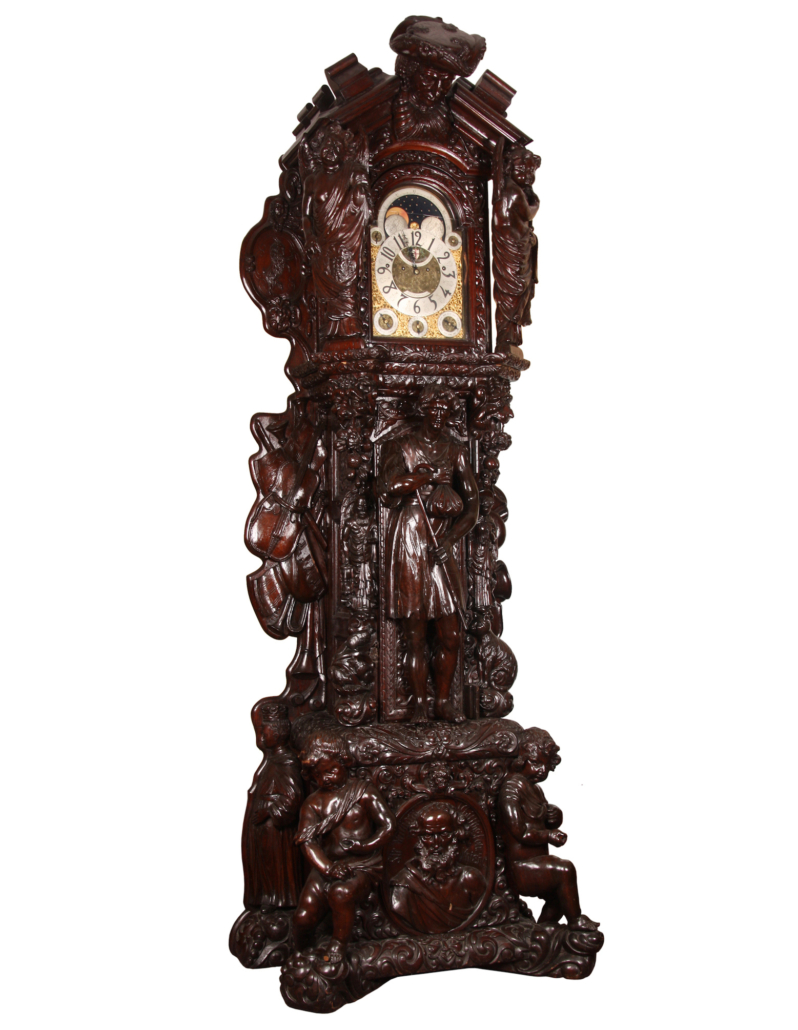 Monumental 1793 English carved oak tall case clock, which sold for $127,050