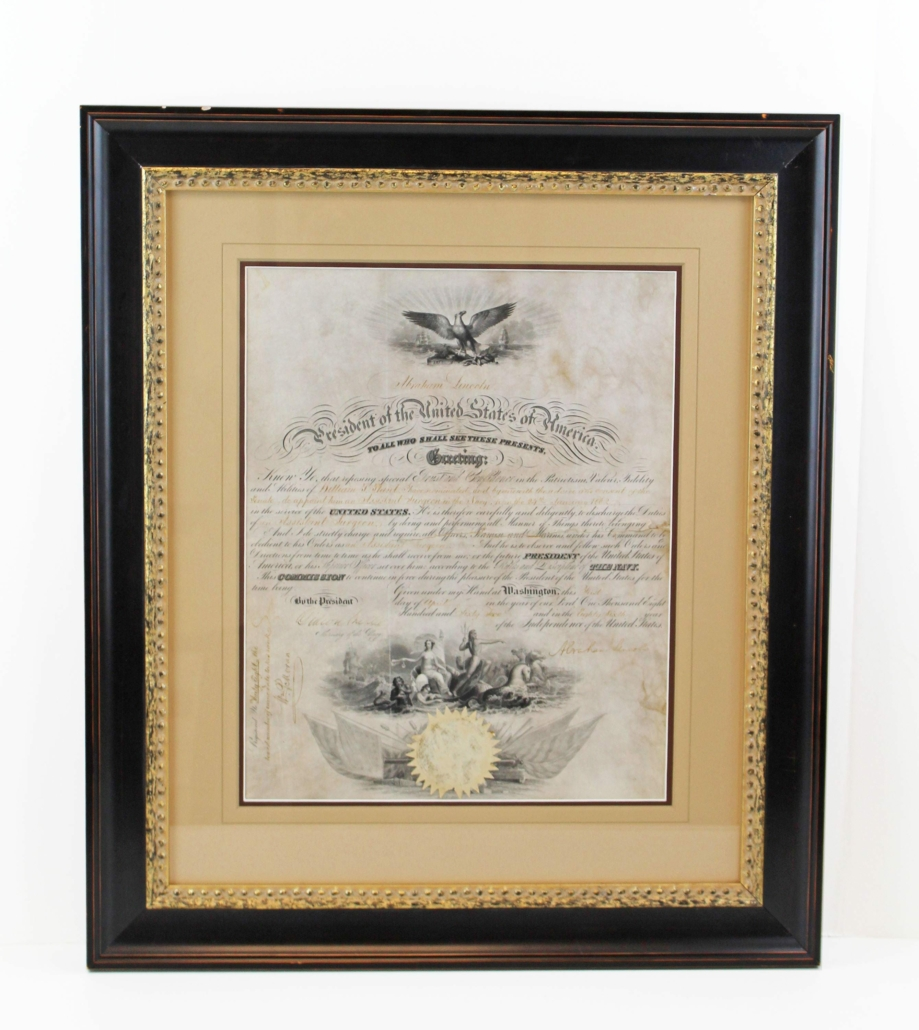 Civil War naval appointment signed by President Abraham Lincoln, estimated at $6,000-$7,000