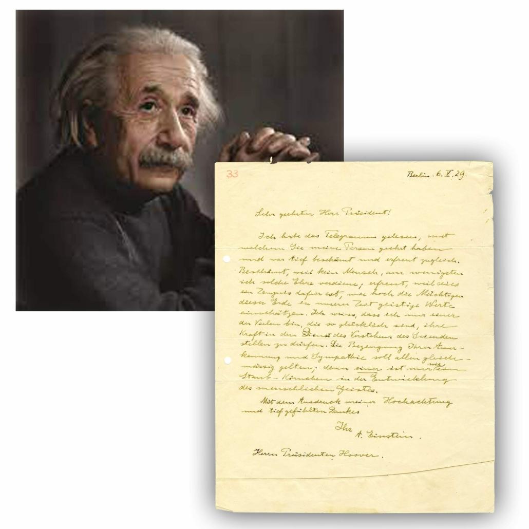 1929 letter handwritten in German by Albert Einstein to President Herbert Hoover, estimated at $50,000-$55,000