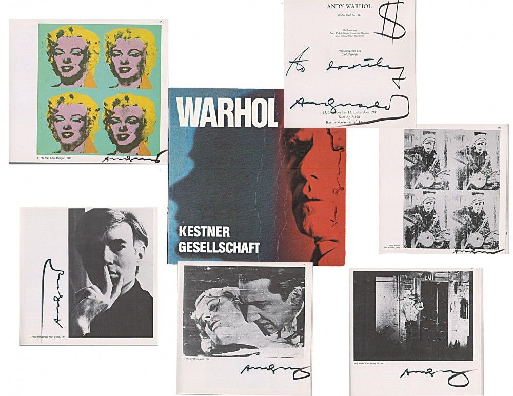 Copy of the 'Warhol' exhibition catalog, signed seven times by the artist, estimated at $5,000-$6,000