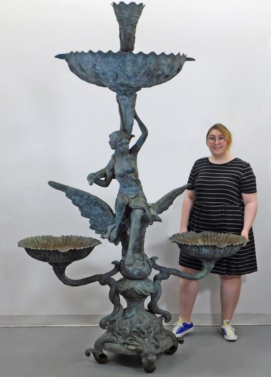 Monumental bronze Art Nouveau three-basin fountain, estimated at $2,000-$3,000