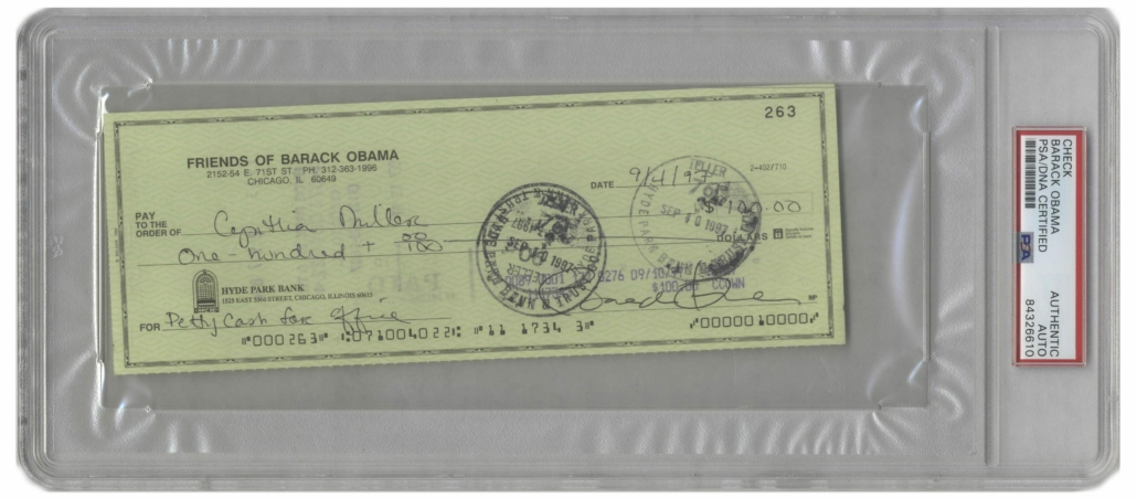 Check signed by then-junior Senator from Illinois Barack Obama, estimated at $8,000-$10,000