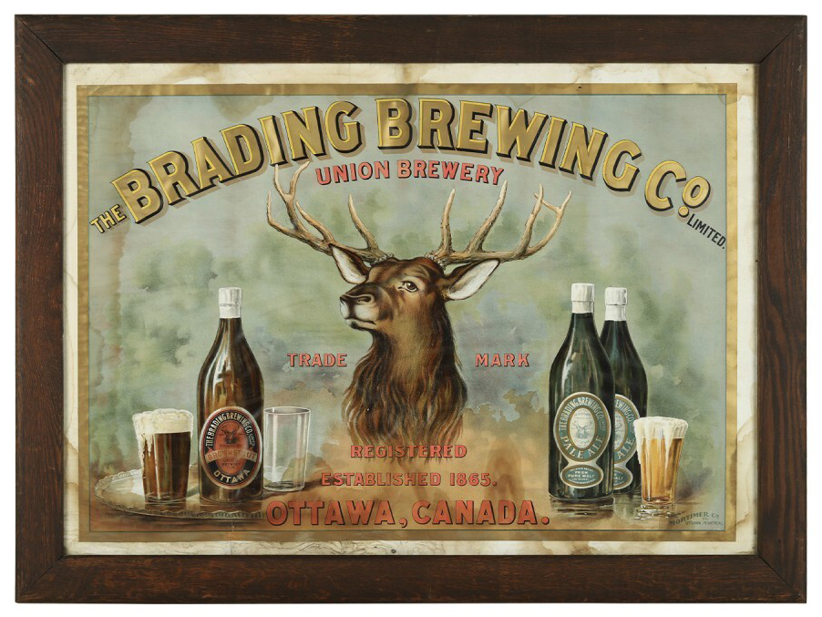 Brading Brewery Company early Canadian paper-under-glass lithograph from the 1910s, estimated at CA$3,500-$5,000