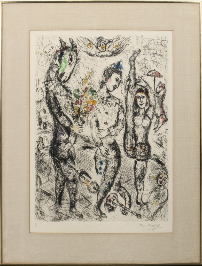 Marc Chagall, 'Le Pierrot,' estimated at $4,000-$6,000