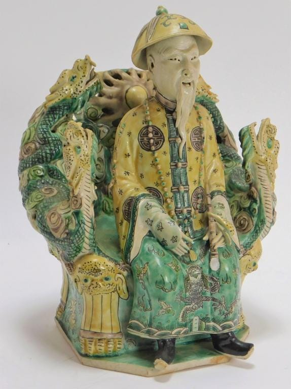 19th century Chinese porcelain Sancai statue, estimated at $1,000-$2,000