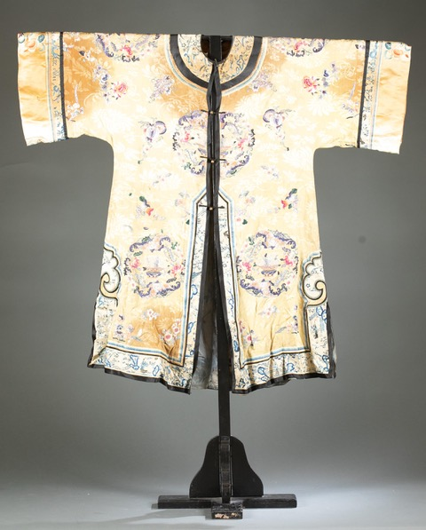 Chinese silk embroidery garment, circa Qing dynasty, estimated at $600-$900
