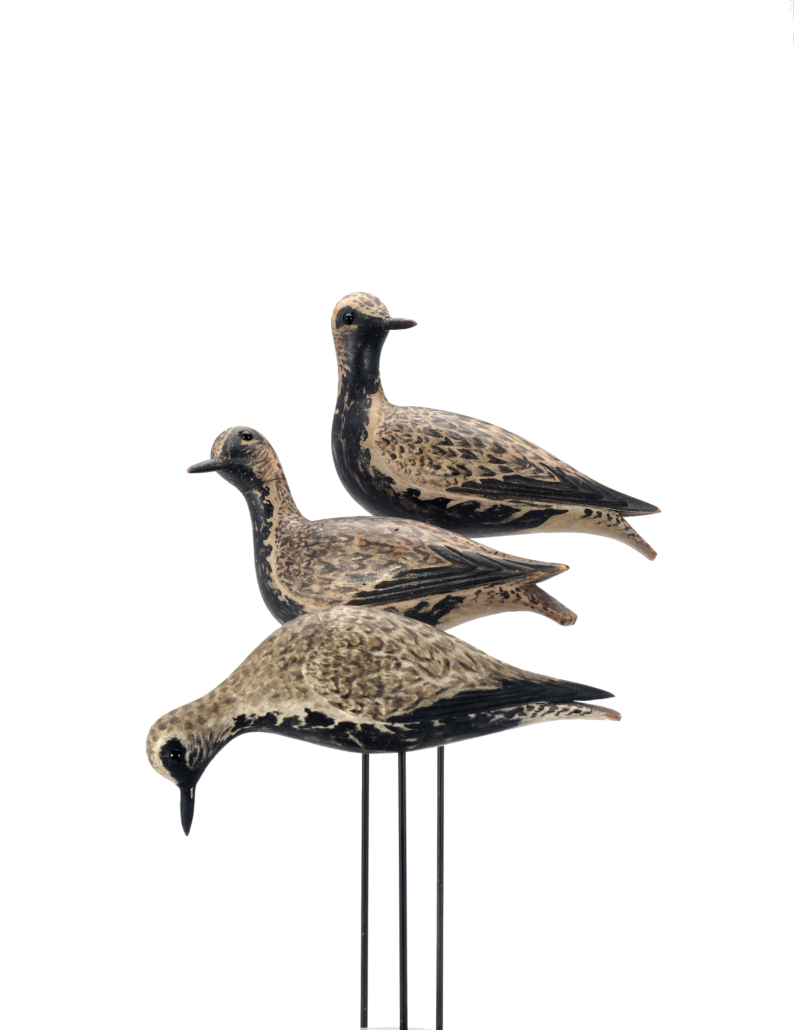 Top: The Waring turned-head dust-jacket plover; middle, the Waring skyward-gazing dust-jacket plover; bottom, the Waring feeding dust-jacket plover, all by A. Elmer Crowell. Each carries an individual estimate of $300,000-$500,000.