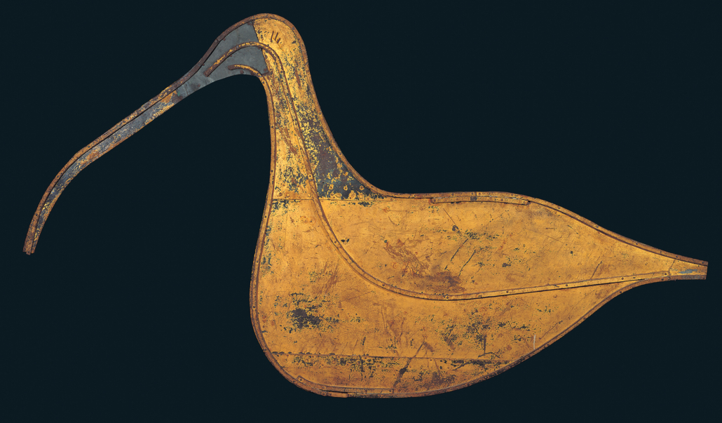 Curlew weathervane, created circa 1874 by an unknown artist. Photograph by John Bigelow Taylor