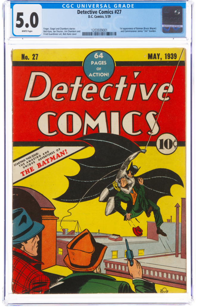 Copy of Detective Comics No. 27, featuring the debut of Batman, which sold for $1.125 million