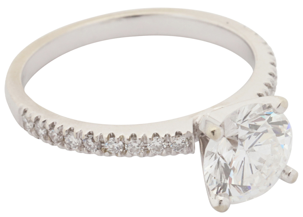 Diamond solitaire ring with 1.99-carat center stone, which sold for CA$15,340