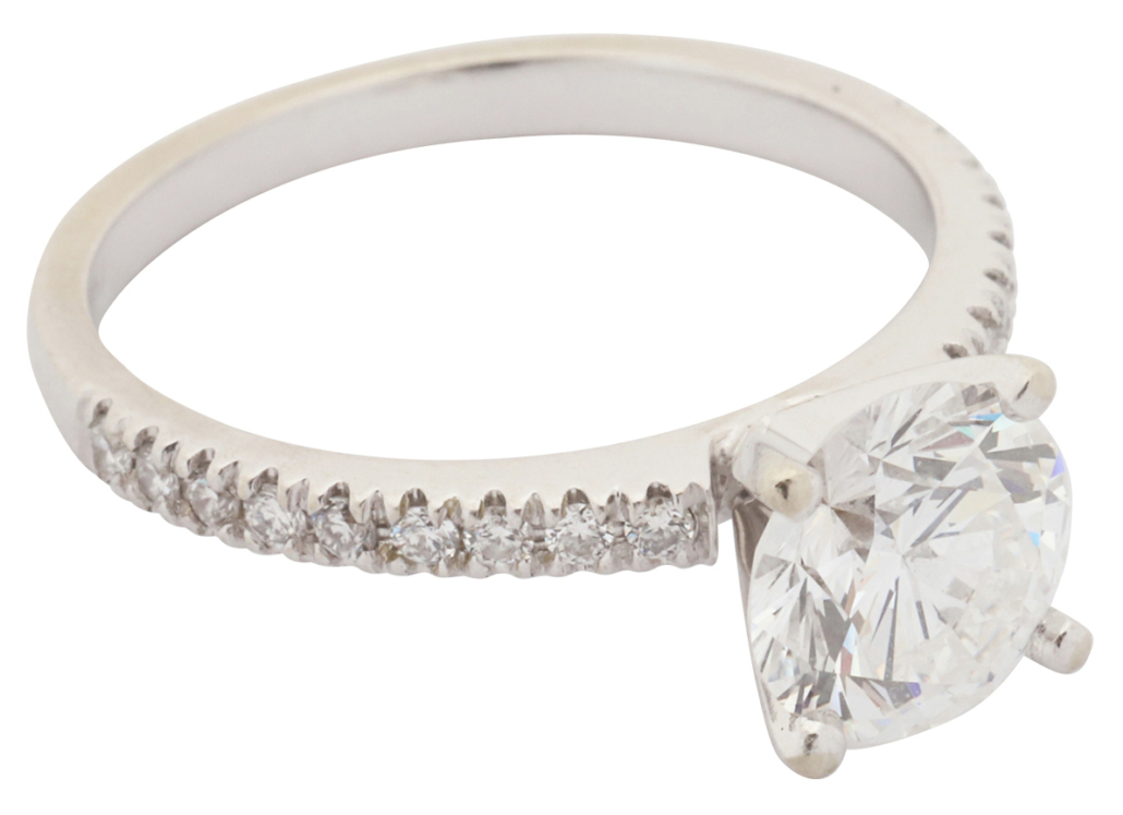 Diamond solitaire ring with a 14K white gold band, estimated at $18,000-$20,000