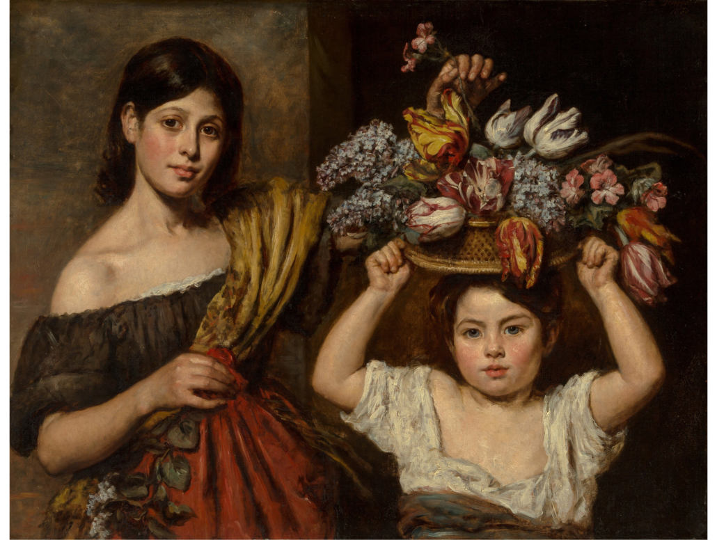 Emma Jones Soyer, 'Two Young Children with a Basket of Flowers,' estimated at $20,000-$30,000