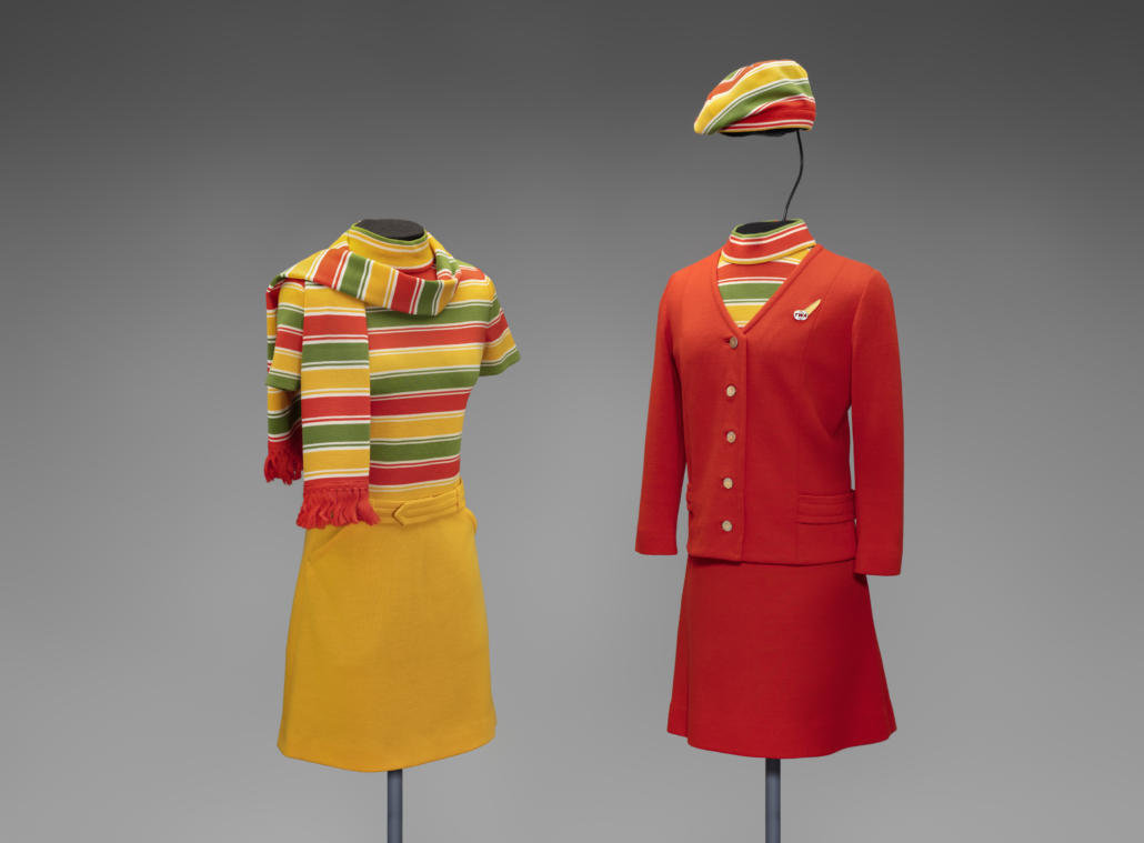 Trans World Airlines (TWA) uniforms from 1968, collection of SFO Museum