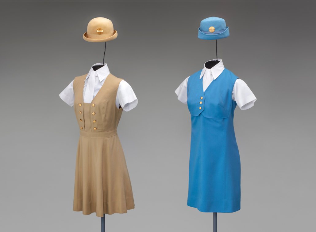 Pan American World Airways uniforms, left, from 1971, right, 1969, both designed by Frank Smith, collection of SFO Museum
